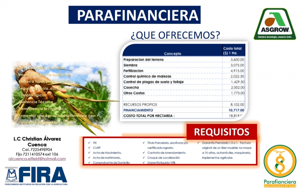Parafinanciera para maíz